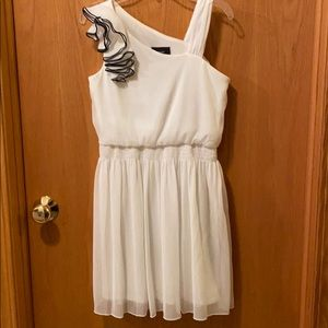 BCXgirl dress • shoulder ruffle accent on one side